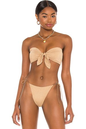 Tropic of C Cha Cha Bikini Top in Metallic Neutral. - size L (also in M, S, XS)