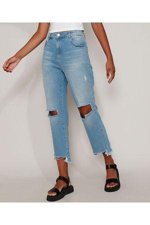 SAWARY Calça Jeans Feminina Reta Cropped Cintura Alta Destroyed Claro