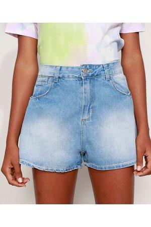 SAWARY Short Jeans Feminino Godê Cintura Alta Claro