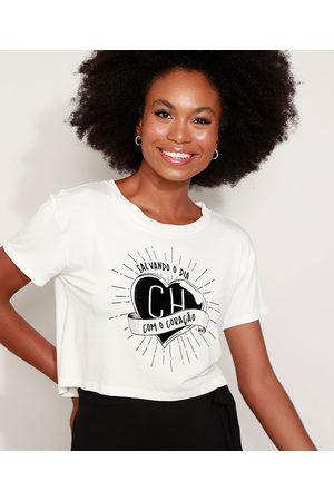Chaves Mulher Camiseta - Camiseta Feminina Cropped Chapolin Flocada Manga Curta Decote Redondo Off White