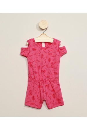 BABY CLUB Menina Macacão - Macaquinho Infantil Flamingos Open Shoulder Manga Curta Decote Redondo Pink