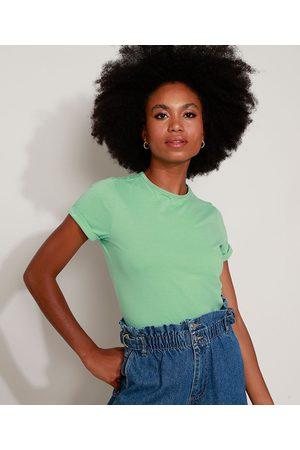 Basics Mulher Camiseta - Camiseta Feminina Básica com Bordado Manga Curta Decote Redondo Claro