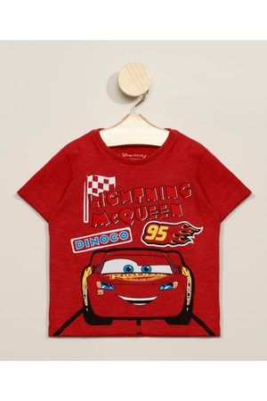Disney Menino Manga Curta - Camiseta Infantil Carros Manga Curta Gola Careca Vermelha