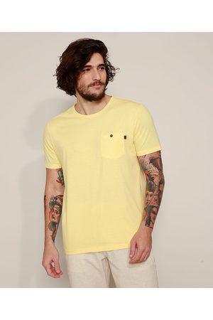 Suncoast Camiseta Masculina com Bolso Manga Curta Gola Careca Amarela