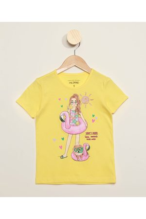 PALOMINO Blusa Infantil Menina com Boia de Flamingo e Glitter Manga Curta Amarela