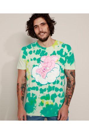 Ursinhos Carinhosos Camiseta Masculina Elefante Estampada Tie Dye Manga Curta Gola Careca Verde