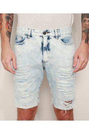 Clockhouse Bermuda Jeans Masculina Slim Destroyed Marmorizada Claro