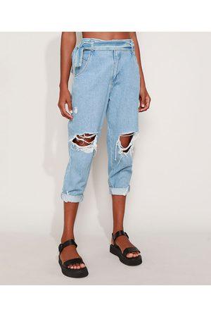 SAWARY Calça Jeans Feminina Baggy Cintura Alta Destroyed com Faixa para Amarrar Claro