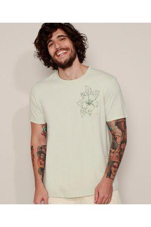 Clockhouse Camiseta Masculina com Bolso Floral Manga Curta Gola Careca Claro