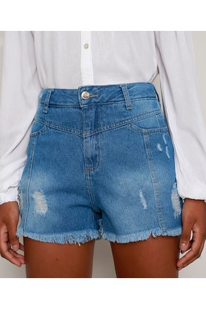 SAWARY Short Jeans Feminino Boy Cintura Alta Destroyed com Recortes Médio