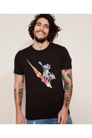 Os Simpsons Camiseta Masculina Comichão e Coçadinha Manga Curta Gola Careca Preta