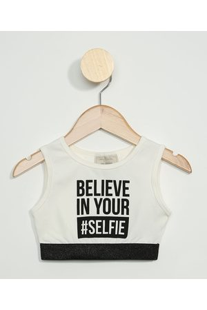 """PALOMINO Regata Cropped Infantil Believe In Your #Selfie"""" Off White"""""""