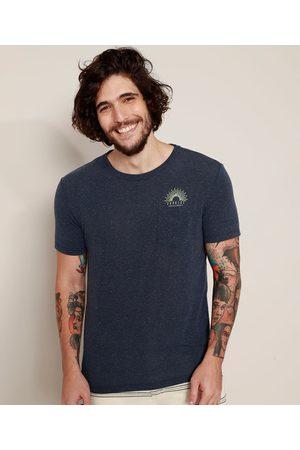 """Suncoast Camiseta Masculina Sunrise"""" com Linho e Bolso Manga Curta Gola Careca """""""