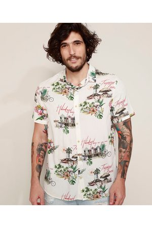 "Clockhouse Camisa Masculina Tradicional Estampada Tropical Fever"" Manga Curta Off White"""