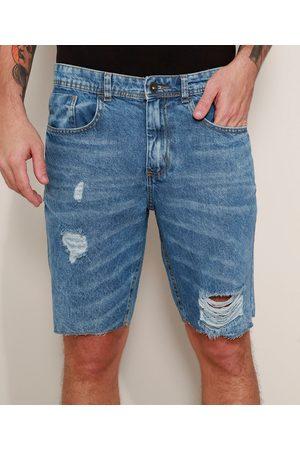 Clockhouse Bermuda Jeans Masculina Slim Destroyed Marmorizada Médio