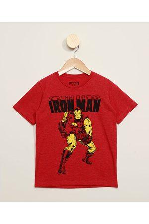 Marvel Camiseta Infantil Homem de Ferro Flocada Manga Curta Vermelha