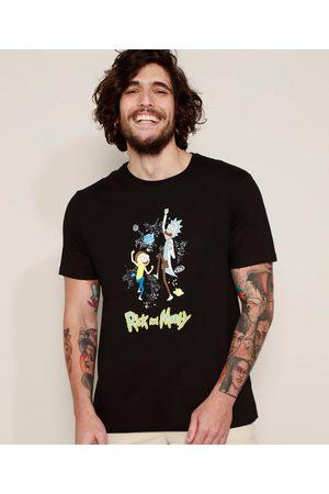 Warner Bros Camiseta Masculina Rick and Morty Manga Curta Gola Careca Preta