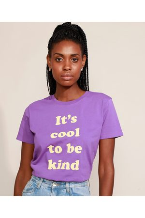 "Mindse7 T-Shirt Feminina Mindset It's Cool to Be Kind"" Manga Curta Decote Redondo Roxa"""