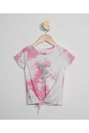 PALOMINO Blusa Infantil Tie Dye com Nó Manga Curta Off White