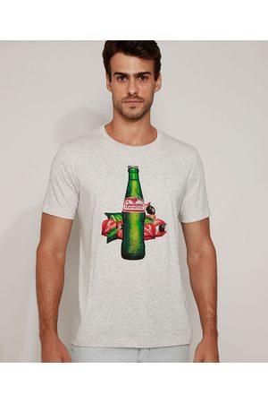Ambev Camiseta Masculina Guaraná Antárctica Aquarelada Manga Curta Gola Careca Mescla Claro
