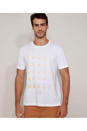 ANGELO LITRICO Camiseta Masculina Copos de Cerveja Manga Curta Gola Careca Branca