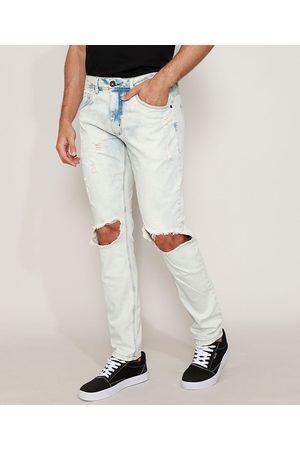 Clockhouse Calça Jeans Masculina Skinny Destroyed com Rasgos no Joelho Claro