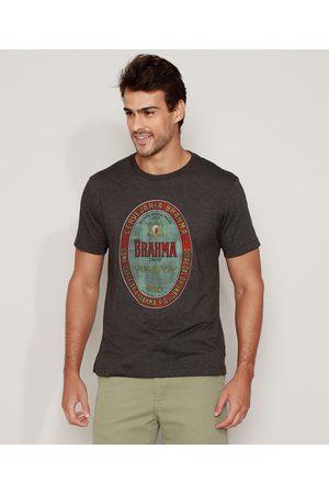 Ambev Camiseta Masculina Brahma Manga Curta Gola Careca Mescla Escuro