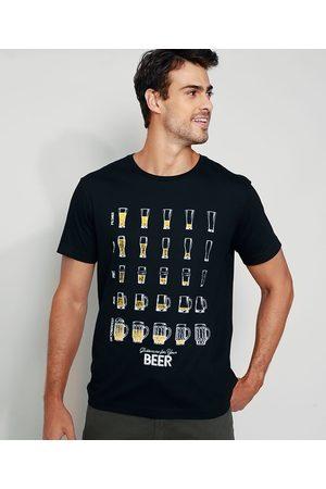 ANGELO LITRICO Camiseta Masculina Copos de Cerveja Manga Curta Gola Careca Preta