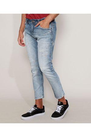 Clockhouse Homem Calça Skinny - Calça Jeans Masculina Skinny Cropped com Puídos Claro