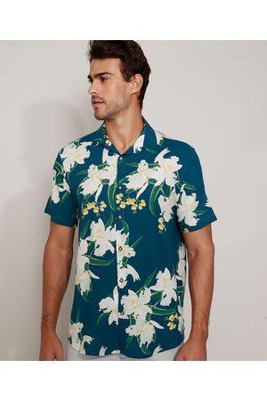 AL Contemporâneo Homem Camisa Casual - Camisa Masculina Relaxed Estampada Floral Manga Curta Azul Marinho