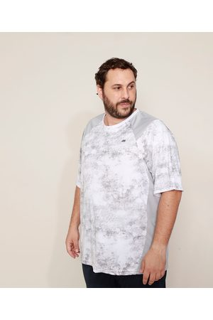 ACE Homem Manga Curta - Camiseta Masculina Plus Size Esportiva Estampada Marmorizada com Recortes Manga Curta Gola Careca Branca