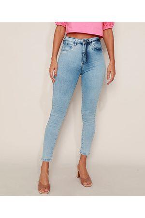 SAWARY Calça Jeans Feminina Super Skinny 360 Cintura Alta Marmorizada Claro
