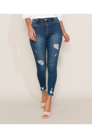 SAWARY Calça Jeans Feminina Cigarrete Push Up Super Lipo Cintura Alta Destroyed Escuro
