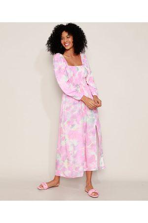Clockhouse Mulher Vestido Médio - Vestido Feminino Midi Tie Dye com Fenda e Lastex Manga Bufante Rosa