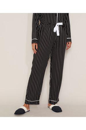 Design Íntimo Calça de Pijama Feminina Listrada com Vivo Contrastante e Laço Preta