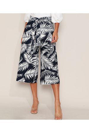 YESSICA Mulher Calça Cintura Alta - Calça Feminina Pantacourt Cintura Alta Estampada de Folhagem com Bolsos e Amarração Azul Marinho