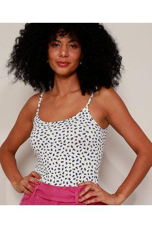 Basics Regata Feminina Básica Estampada Mini Print Floral Alça Fina Decote Redondo Off White