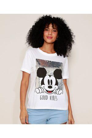 Disney Mulher Camiseta - Camiseta Feminina Mickey com Paetê Manga Curta Decote Redondo Off White