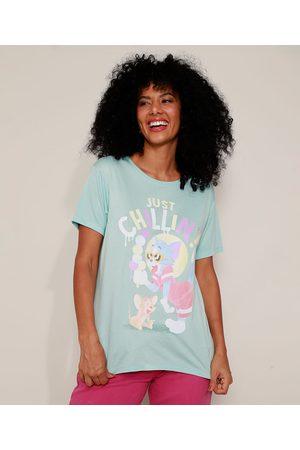"Warner Bros Mulher Camiseta - Camiseta Feminina Tom e Jerry Just Chillin'"" Manga Curta Decote Redondo Claro"""
