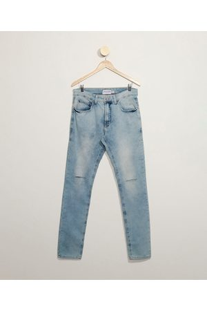 Clockhouse Calça Jeans Masculina em Moletom Skinny com Rasgos Claro
