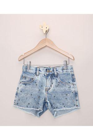 PALOMINO Short Jeans Infantil com Strass Bolsos e Barra Desfiada Claro