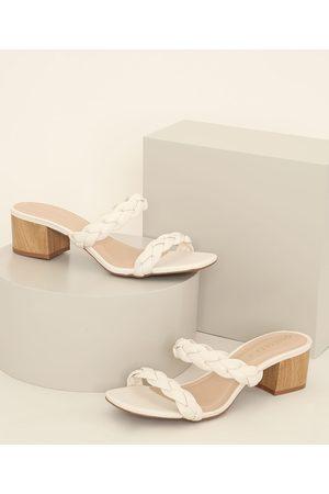 Oneself Mulher Sapato Mule - Tamanco Feminino Trançado Salto Baixo em Madeira Off White