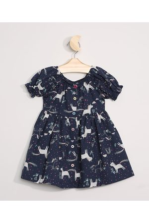 BABY CLUB Menina Vestidos - Vestido Infantil Unicórnios Manga Curta Bufante Azul Marinho