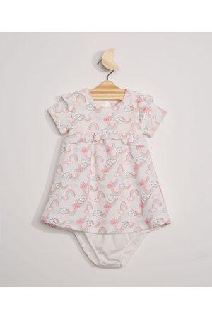 BABY CLUB Menina Vestidos - Vestido Infantil Arco-Íris Manga Curta + Calcinha Off White