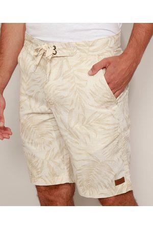 Suncoast Homem Bermuda - Bermuda Masculina Reta Estampada de Folhagem com Linho Off White