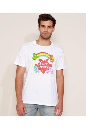 Ursinhos Carinhosos Homem Manga Curta - Camiseta Masculina Manga Curta Gola Careca Branca