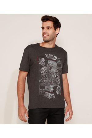 """ANGELO LITRICO Camiseta Masculina The King's Drink"""" Manga Curta Gola Careca Mescla Escuro"""""""