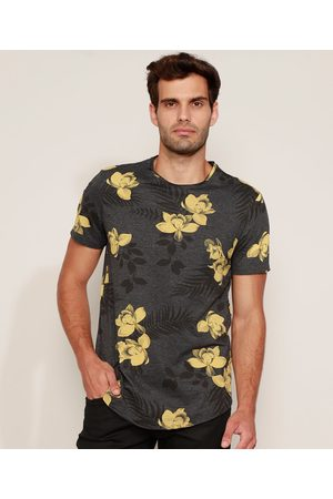 AL Contemporâneo Camiseta Masculina Slim Estampada Floral Manga Curta Gola Careca Cinza Mescla Escuro