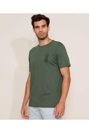 """Suncoast Camiseta Masculina Folhas Down to the Ground"""" Manga Curta Gola Careca Escuro"""""""