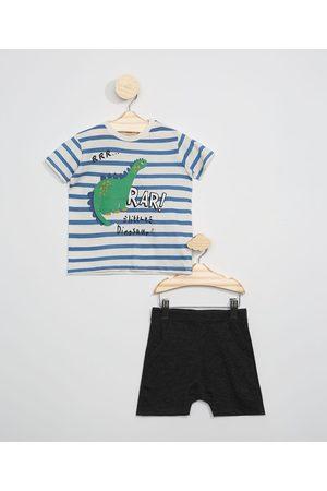 Baby Club Conjunto Infantil de Camiseta Listrada Dinossauro Manga Curta Off White + Short Mescla Escuro